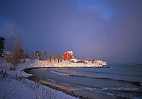 Marquette Lighthouse winter shoreline lighthouses in the Upper Peninsula of Michigan