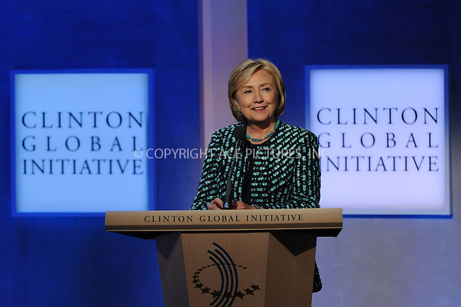 WWW.ACEPIXS.COM<br /> September 24, 2013 New York City<br /> <br /> Hillary Rodham Clinton on stage during the annual Clinton Global Initiative (CGI) meeting on September 24, 2013 in New York City.<br /> <br /> By Line: Kristin Callahan/ACE Pictures<br /> <br /> ACE Pictures, Inc.<br /> tel: 646 769 0430<br /> Email: info@acepixs.com<br /> www.acepixs.com<br /> <br /> Copyright: Kristin Callahan/ACE Pictures