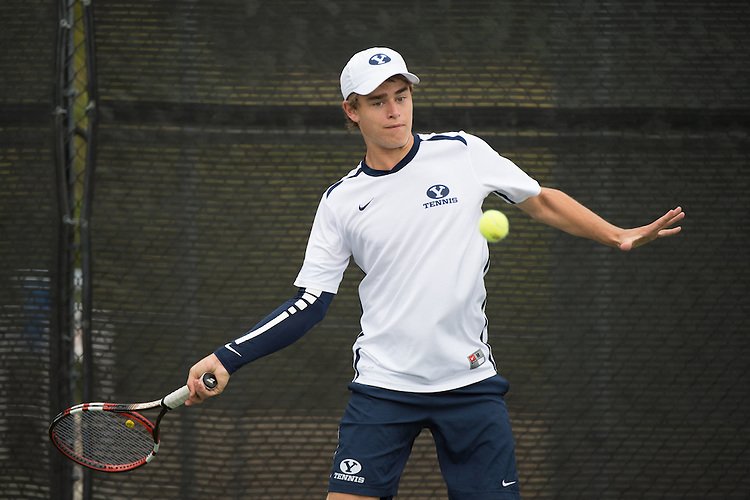 April 22, 2015; San Diego, CA, USA; BYU Cougars tennis player David Ball during the WCC Tennis Championships at Barnes Tennis Center.