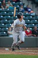 Daniel Salters (12) of the Lynchburg Hillcats follows through on his swing against the Winston-Salem Dash at BB&T Ballpark on April 28, 2016 in Winston-Salem, North Carolina.  The Dash defeated the Hillcats 4-1.  (Brian Westerholt/Four Seam Images)