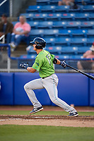 Lynchburg Hillcats shortstop Luke Wakamatsu (12) follows through on a swing during a game against the Salem Red Sox on May 10, 2018 at Haley Toyota Field in Salem, Virginia.  Lynchburg defeated Salem 11-5.  (Mike Janes/Four Seam Images)