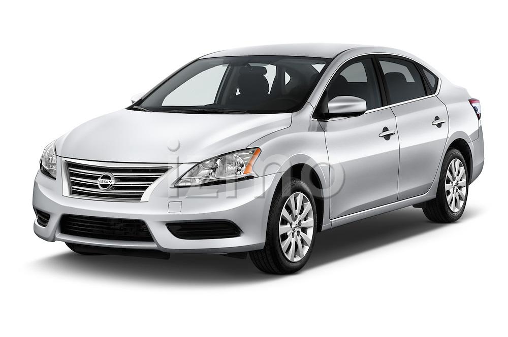 2014 Nissan Sentra SV 4 Door Sedan Angular Front stock photos of front three quarter view