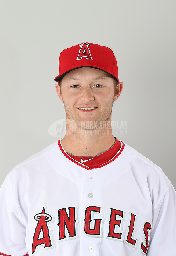 Feb. 21, 2113; Tempe, AZ, USA: Los Angeles Angels catcher Zach Wright poses for a portrait during photo day at Tempe Diablo Stadium. Mandatory Credit: Mark J. Rebilas-