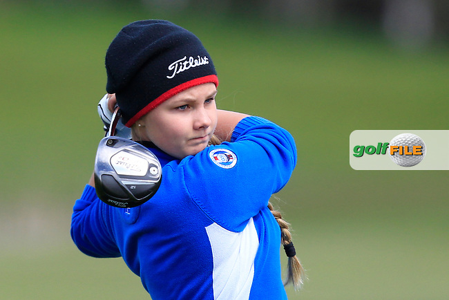 Olef Maria Einarsdottir (ICE) on the 13th tee during Round 3 of the Irish Girl's Open Stroke Play Championship at Roganstown Golf &amp; Country Club on Sunday 17th April 2016.<br /> Picture:  Thos Caffrey / www.golffile.ie