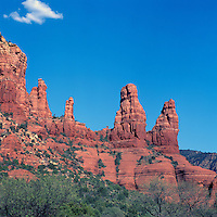 Sedona, Arizona, USA - 'Two Sisters' Rock Formations on 'Twin Buttes' in Red Rock Country