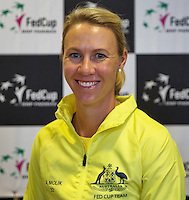 April 15, 2015, Netherlands, Den Bosch, Maaspoort, Fedcup Netherlands-Australia,  Captain Alicia Molik (AUS)<br /> Photo: Tennisimages/Henk Koster