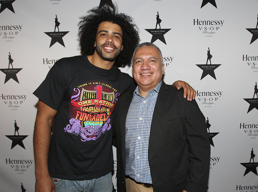 Actor Daveed Diggs and and Senior Director of Multicultural for Moet Hennessy USA Manny Gonzalez are seen at Hennessy V.S.O.P Celebrates Hamilton's 1st Week of performances on Broadway at URBO on Saturday, July 18, 2015, in New York. (Photo by Donald Traill/Invision for Hennessy/AP Images)