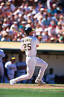 OAKLAND, CA - Mark McGwire of the Oakland Athletics in action during a game at the Oakland Coliseum in Oakland, California in 1995. Photo by Brad Mangin