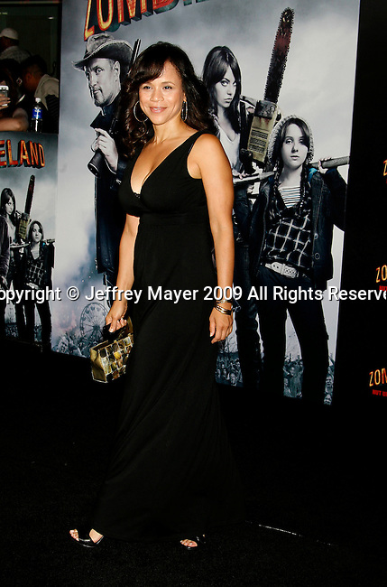 "HOLLYWOOD, CA. - September 23: Rosie Perez arrives at the Los Angeles premiere of ""Zombieland"" at Grauman's Chinese Theatre on September 23, 2009 in Hollywood, California."