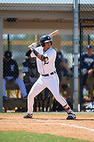 Detroit Tigers Yerjeni Perez (83) at bat during an Instructional League game against the Philadelphia Phillies on September 19, 2019 at Tigertown in Lakeland, Florida.  (Mike Janes/Four Seam Images)