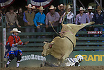 Kody Radley competes in the Bull Riding event during the Reno Rodeo on Sunday, June 23, 2019.