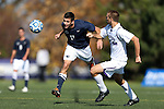 21 October 2012: Penn State's Julian Cardona (17) and Northwestern's Jarrett Baughman (4). The Northwestern University Wildcats played the Penn State University Nittany Lions at Lakeside Field in Evanston, Illinois in a 2012 NCAA Division I Men's Soccer game. Penn State won the game 1-0 in golden goal overtime.