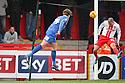 Tom Eaves of Shrewsbury heads past Jimmy Smith of Stevenage for their second goal<br />  - Stevenage v Shrewsbury Town - Sky Bet League 1 - Lamex Stadium, Stevenage - 30th November, 2013<br />  © Kevin Coleman 2013