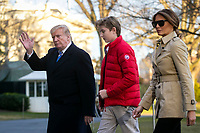 United States President Donald J. Trump, first lady Melania Trump, and their son Barron Trump, arrive on the South Lawn of the White House, on March 10, 2019 in Washington, DC. Trump spent the weekend at his Mar-a-Lago club in Palm Bech, Florida. Photo Credit: Al Drago/CNP/AdMedia