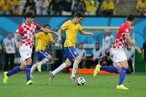 12.06.2014. Sao Paulo, Brazil. World Cup finals 2014. Opening game, Brazil versus Croatia. Oscar in action followed by Corluka