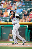 Carlos Rivero (5) of the Reno Aces bats against the Salt Lake Bees in Pacific Coast League action at Smith's Ballpark on June 15, 2017 in Salt Lake City, Utah. The Aces defeated the Bees 13-5. (Stephen Smith/Four Seam Images)