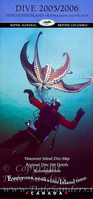 Cover of Vancouver Island Dive Map and Guide 2006 with Image of Dive with Giant Pacific Octopus.