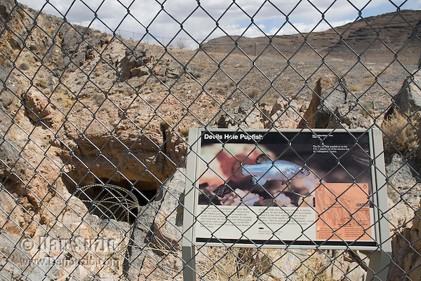 Sign at entrance to Devils Hole, habitat of Devils Hole pupfish, Cyprinodon diabolis. Ash Meadows National Wildlife Refuge, Nevada
