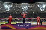 The womens javelin medal ceremony. (l to r) Lingwei LI (CHN, silver), Barbora SPOTAKOVA (CZE, gold medal) and Huihui LYU (CHN, bronze). IAAF world athletics championships. London Olympic stadium. Queen Elizabeth Olympic park. Stratford. London. UK. 08/08/2017. ~ MANDATORY CREDIT Garry Bowden/SIPPA - NO UNAUTHORISED USE - +44 7837 394578