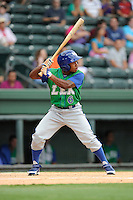 Outfielder Terrance Gore (6) of the Lexington Legends bats in a game against the Greenville Drive on Friday, August 18, 2013, at Fluor Field at the West End in Greenville, South Carolina. Lexington won, 5-0. (Tom Priddy/Four Seam Images)