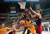 Herbalife Gran Canaria's player Darko Planinic and Bo McCalebb and FC Barcelona Lassa player Victor Claver, Joey Dorsey and Justin Doellman during the final of Supercopa of Liga Endesa Madrid. September 24, Spain. 2016. (ALTERPHOTOS/BorjaB.Hojas) NORTEPHOTO.COM