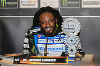ANTONIO LINDBACK (Sweeden) during the press conference after winning the 2016 Adrian Flux British FIM Speedway Grand Prix at Principality Stadium, Cardiff, Wales  on 9 July 2016. Photo by David Horn.