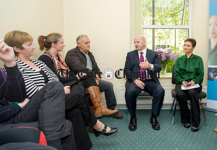 Sean Gallagher, independent presidential candidate, and his wife, Trish, meet with entrepreneurs at the Clare Supported Employment Service on Harmony Row during his recent visit to Ennis. Photograph by Declan Monaghan