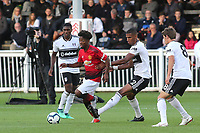 Angel Gomes of Manchester United U23's takes on the Fulham U23 defence during Fulham Under-23 vs Manchester United Under-23, Premier League 2 Football at Motspur Park on 10th August 2018