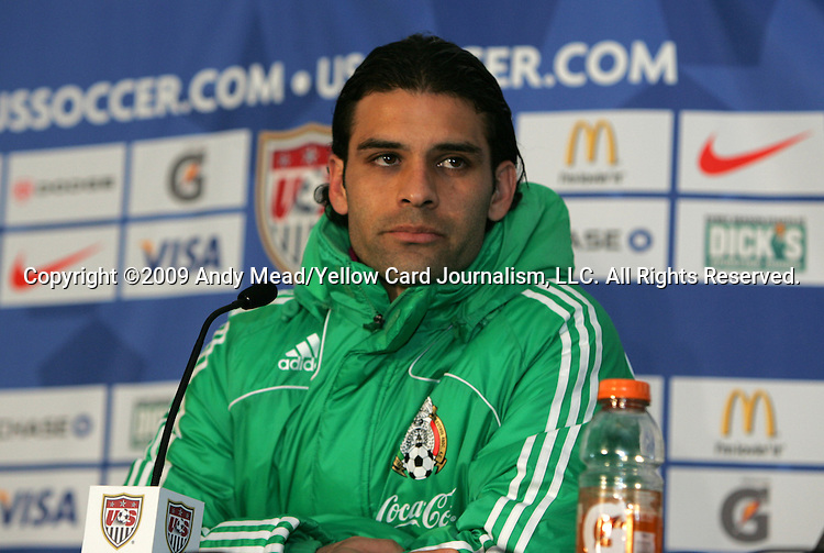 11 February 2009: Rafael Marquez (MEX) during the postgame press conference. The United States Men's National Team played the Mexico Men's National Team at Columbus Crew Stadium in Columbus, OH in the Hexagonal, the final CONCACAF round, a FIFA 2010 South Africa World Cup Qualifier.