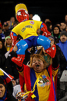 A Colombian fan cheers her team during their friendly match between Colombia and Brazil at MetLife Stadium in East Rutherford New Jersey, November 14, 2012. Photo by Eduardo Munoz Alvarez / VIEWpress.