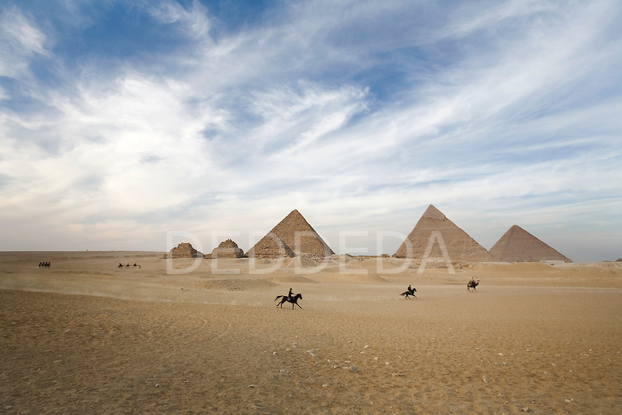 Horses run across the desert sands at the Pyramids of Giza near Cairo, Egypt.
