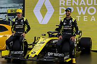 11th March 2020; Melbourne Grand Prix Circuit, Melbourne, Victoria, Australia; Formula One, Australian Grand Prix, Arrival Day;Renault drivers Esteban Ocon and Daniel Ricciardo at Renault car launch