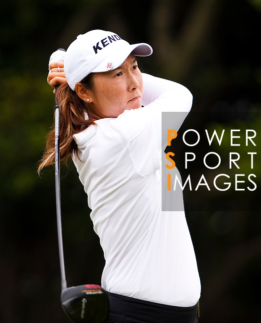 TAOYUAN, TAIWAN - OCTOBER 21: Candie Kung of Taiwan tees off on the 13th hole during day two of the LPGA Imperial Springs Taiwan Championship at Sunrise Golf Course on October 21, 2011 in Taoyuan, Taiwan. (Photo by Victor Fraile/Getty Images)