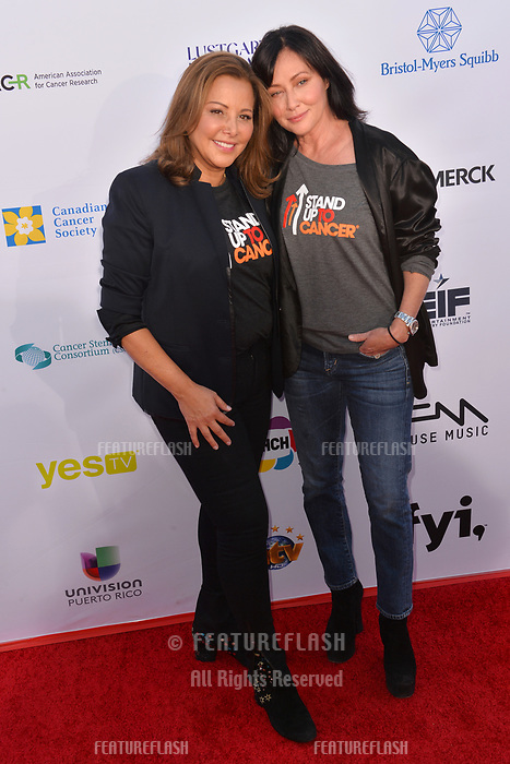 SANTA MONICA, CA. September 07, 2018: Shannen Doherty (right) & guest at the 2018 Stand Up To Cancer fundraiser at Barker Hangar, Santa Monica Airport.