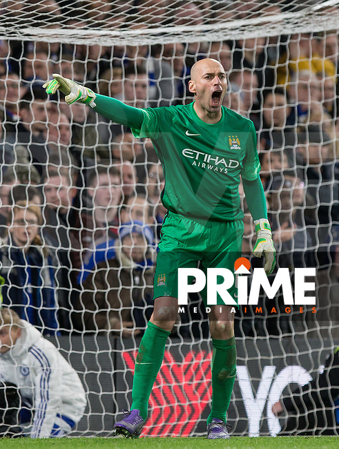 Goalkeeper Wilfredo Caballero of Man City during the FA Cup 5th round match between Chelsea and Manchester City at Stamford Bridge, London, England on 21 February 2016. Photo by Andy Rowland.
