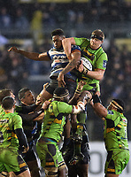 David Ribbans of Northampton Saints competes with Levi Douglas of Bath Rugby for the ball at a lineout. Anglo-Welsh Cup Semi Final, between Bath Rugby and Northampton Saints on March 9, 2018 at the Recreation Ground in Bath, England. Photo by: Patrick Khachfe / Onside Images