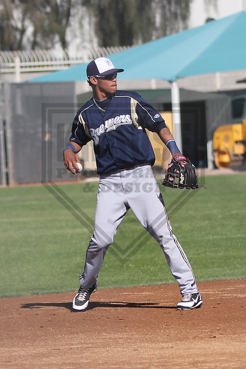 MARYVALE - March 2013: Orlando Arcia of the Milwaukee Brewers during a Spring Training practice on March 17, 2013 at Maryvale Baseball Park in Maryvale, Arizona. (Photo by Brad Krause). .