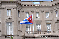 Washington, DC - July 20, 2015: The Cuban flag flies over the re-opened Embassy of Cuba July 20, 2015. The embassy reopened after the United States began normalizing diplomatic relations with Cuba. (Photo by Don Baxter/Media Images International)