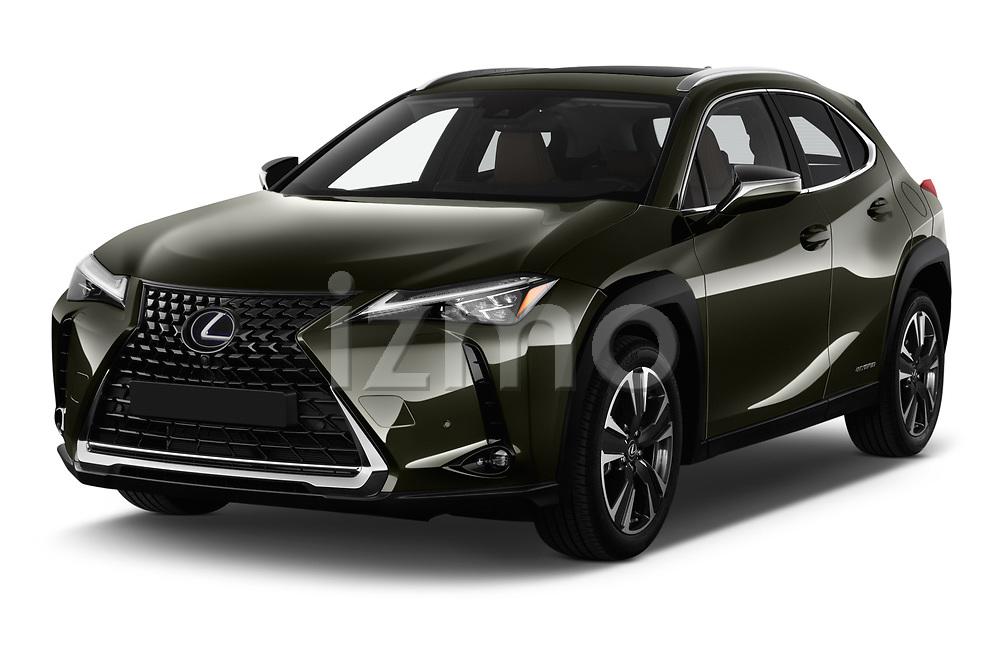 2019 Lexus UX Privilege-Line 5 Door SUV angular front stock photos of front three quarter view