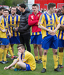 © Joel Goodman - 07973 332324 . 25/04/2015 . Salford , UK . Post match commiserations for Ossett Town . Evostick League champions , Salford FC , play Osset Town , in Salford . Photo credit : Joel Goodman