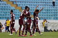 BARUERI, SP, 11 DE JANEIRO DE 2013 - COPA SÃO PAULO DE FUTEBOL JUNIOR - CONFIANÇA (SE) x SERTÃOZINHO: Jogadores do Sertãozinho comemoram a vitória após partida Confiança (SE) x Sertãozinho (SE), válida pela primeira fase da Copa São Paulo de Futebol Junior, disputado na Arena Barueri. FOTO: LEVI BIANCO - BRAZIL PHOTO PRESS