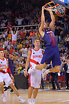 League ACB-ENDESA 2017/2018. Game: 1.<br /> FC Barcelona Lassa vs Baskonia: 87-82.<br /> Janis Timma vs Aleksandar Vezenkov.
