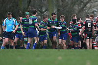 Kings Cross celebrate their third try during Campion RFC vs Kings Cross Steelers RFC, London 3 Essex Division Rugby Union at Cottons Park on 12th January 2019