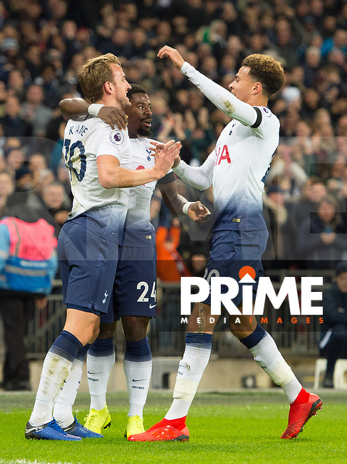 Tottenham's players celebrating Harry Kane goal during the Premier League match between Tottenham Hotspur and Chelsea at Wembley Stadium, London, England on 24 November 2018. Photo by Andrew Aleksiejczuk / PRiME Media Images.