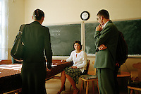ROMANIA / Maramures / Barsana / 15.09.2006..Ileana, 24, a French teacher at the grade school in this village along the Iza valley with other teachers on the first day of school...© Davin Ellicson / Anzenberger