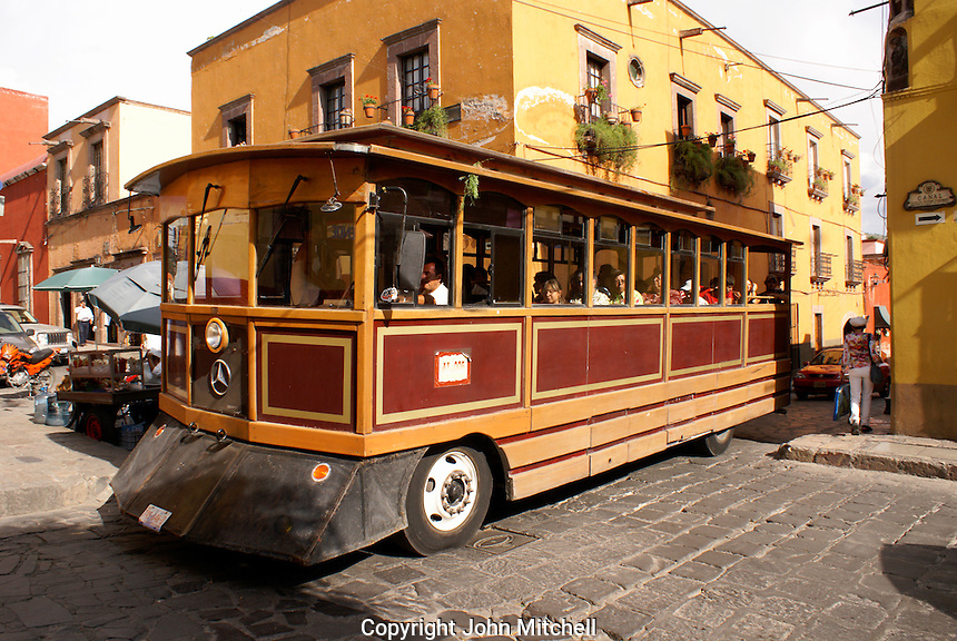 Sightseeing trolley bus in San Miguel de Allende, Mexico