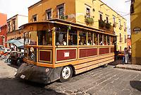 Sightseeing trolley bus in San Miguel de Allende, Mexico