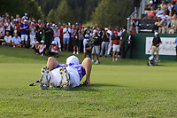 Matthew Fitzpatrick (ENG) lines up his putt on the 18th green during Sunday's Final Round 4 of the 2018 Omega European Masters, held at the Golf Club Crans-Sur-Sierre, Crans Montana, Switzerland. 9th September 2018.<br /> Picture: Eoin Clarke | Golffile<br /> <br /> <br /> All photos usage must carry mandatory copyright credit (© Golffile | Eoin Clarke)