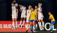 San Diego, CA - Sunday July 30, 2017: Samantha Mewis, Carli Lloyd, Julie Ertz, Bia Zaneratto, Christen Press, Megan Rapinoe during a 2017 Tournament of Nations match between the women's national teams of the United States (USA) and Brazil (BRA) at Qualcomm Stadium.