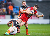 Picture by Alex Whitehead/SWpix.com - 19/03/2017 - Rugby League - Betfred Super League - Salford Red Devils v Castleford Tigers - AJ Bell Stadium, Salford, England - Salford's Adam Walne is tackled by Castleford's Adam Milner and Paul McShane.